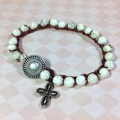 White Turquoise Crocheted Wrap Bracelet Howlite by JewelryCharmers, $24.00