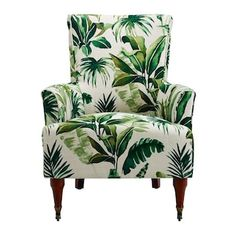 Floral Accent Chair, Accent Chairs, Motif Jungle, Green Armchair, Wooden Armchair, Slipper Chairs, Upholstered Arm Chair, Chair Cushions, Wingback Chairs
