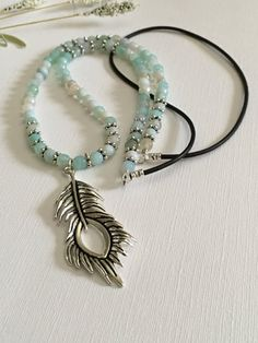Necklace-Dyed Aqua Blue Agate-Beaded by HoneysuckleJewelscom
