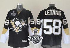 Penguins #58 Kris Letang Black 2017 Stanley Cup Final Patch Stitched NHL Jersey