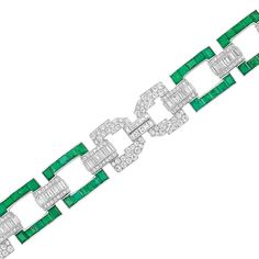 Lot 569  Art Deco Platinum, Diamond and Emerald Bracelet  Composed of buckle links set with 40 rectangular & square-cut emeralds approximately 10.50 cts., joined by fancy-shaped openwork links and bar links, set throughout with 120 round, 108 single-cut, 20 French-cut and 66 baguette diamonds approximately 11.50 cts.,circa1930, approximately 33.7 dwt. Length 7 inches.    Estimate 10,000-15,000