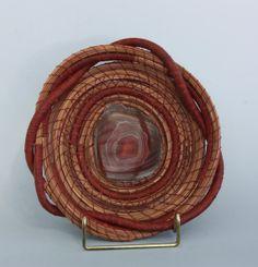Pine Needle Basket  Polished Rock Slice - Item 633 by Susan Ashley