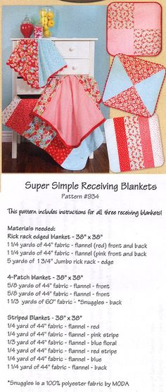 receiving blanket pattern http://www.ericas.com/sewing/patterns/children.htm