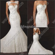 Wholesale Wedding Dresses - Buy Detachable Crew Collar 2014 Lace Covered Button Sleeveless Wedding Dresses Garden Sweep Train Pretty Bridasl Gowns 20131010 Wedding Gowns, $175.23 | DHgate