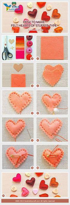 how to make felt hearts of stuffed type