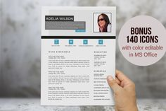 Aqua photo 2 in 1 Word resume by Inkpower on Creative Market