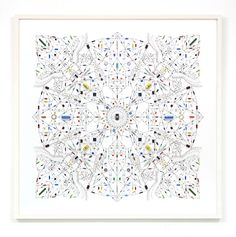 Leonardo Ulian – Technological mandala 53 - Vortex Electronic components, copper wire, paper, wood frame, 2015
