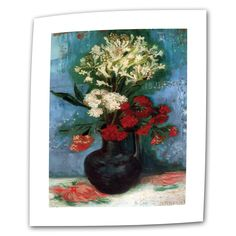 ArtWall Vincent van Gogh 'Vase With Carnations and Other Flowers' Flat Art