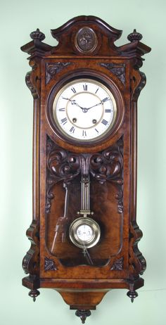 old wall clock antique Antique Pendulum Wall Clock, Antique Wall Clocks, Pendulum Clock, Wooden Clock, Chiming Wall Clocks, Retro Clock, Cool Clocks, Wall Clock Design, Clock Art
