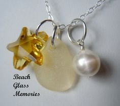 Yellow Sea Glass and Starfish Necklace  by BeachGlassMemories, $26.75