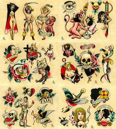 Tattoo Flash Set 15 by Brian Kelly. by briankellyarmy Tatto Old, Old Tattoos, Body Art Tattoos, Retro Tattoos, Traditional Tattoo Man, Traditional Tattoo Old School, Sailor Jerry Tattoo Flash, Sailor Jerry Tattoos, Americana Tattoo