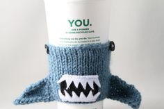 Coffee Cup Sleeve  Monster Shark in Dusty Blue by HandaMade, $16.00