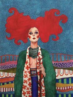 Pinzellades al món: Dones il·lustrades per Hülya Özdemir / Mujeres ilustradas / Women illustrated by Hülya Özdemir Arte Fashion, Woman Illustration, Watercolor Illustration, Illustrations And Posters, Art Plastique, Female Art, Art Inspo, Illustrators, Folk Art