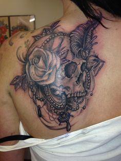 shoulder skull rose tattoo - 600×800