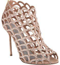 Sergio Rossi Crystal Cutout Shoe Bootie  $1,670