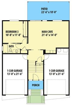 Modern House Plan with Man Cave - 737018LVL | Architectural Designs - House Plans