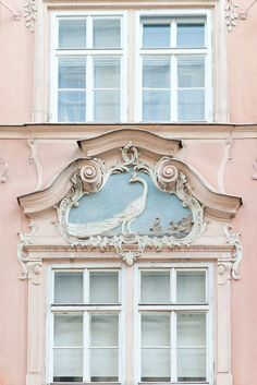 Travel Photography – Peacock Window, Prague, Czech Republic, Large Wall Art, Romantic Pink Home Decor Reise-Fotografie-Pfau-Fenster Prag-Tscheche Architecture Baroque, Architecture Details, Organic Architecture, Minimalist Architecture, Classic Architecture, Ancient Architecture, Landscape Architecture, Pink Home Decor, Paris Apartments