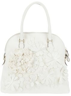 #Valentino Leather Floral Bag in White (floral)