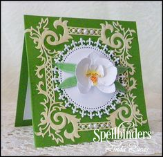 Orchid Card - Scrapbook.com - Lovely layered die cut orchid on this elegant handmade card!