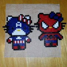 Captain America and Spiderman Hello Kitty perler beads by dezarroyo