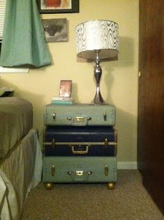 DIY vintage suitcase nightstand