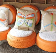 17 Amazing Craft Ideas How To Use Old Tires Make ottoman/seat for porch/use faux leather instead of fake fur