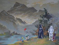 Artist David Irvine imagines what Darth Vader does on his days off; painting him into various scenes from discarded thrift store paintings. Thrift Store Art, Airbrush Art, Framed Prints, Canvas Prints, Star Wars Characters, Day Off, Star Wars Art, House Painting, Thrifting