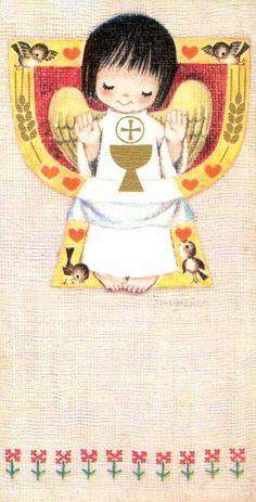 Recordatorio de comunión Juan Ferrándiz. Año 1967 Christian Cards, Spanish Painters, Corpus Christi, First Communion, Religious Art, Big Eyes, Postage Stamps, Catholic, Nostalgia
