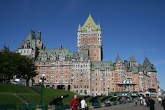 Chateau Frontenac a hotel & popular tourist attraction in Quebec City, Quebec, Canada. Built for Canadian Pacific Railroad Company opened in 1893 to encourage wealthy travelers to travel in Canada along the CP Railways. It is the most photographed hotel in the world today according to the Guinness Book of World Records. Was named for Louis de Buade the Count of Frontenac who was governor general of the New France colony in North America in the late 1600's.