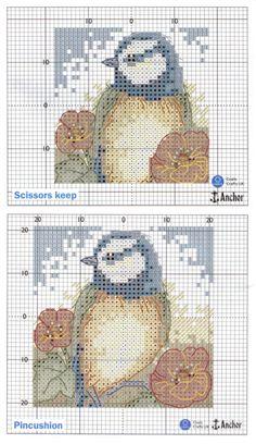 Cross-stitch Bluetits Pincushion & Scissors Keep, part 2...  color chart on part 3...    Gallery.ru / Фото #396 - Маки - обожаю)) - tastr