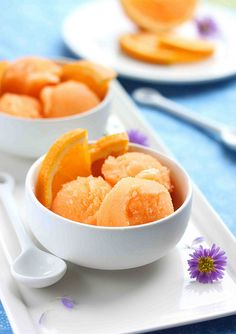 orange cantaloupe sorbet