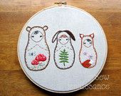 Embroidery PDF Pattern Matryoshka Nesting Doll Woodland Friends Bear Bunny Fox