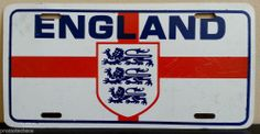 ENGLAND LICENSE PLATE St. George Cross Lions Red White Blue UK Great Britain Tag ***FREE U.S. SHIPPING***