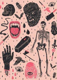 , Whole Lotta Horror Art Print by joshln , vintage horror art ♥. Retro Horror, Vintage Horror, Illustration Arte, Illustrations, Halloween Illustration, Halloween Backgrounds, Halloween Wallpaper, Arte Horror, Horror Art