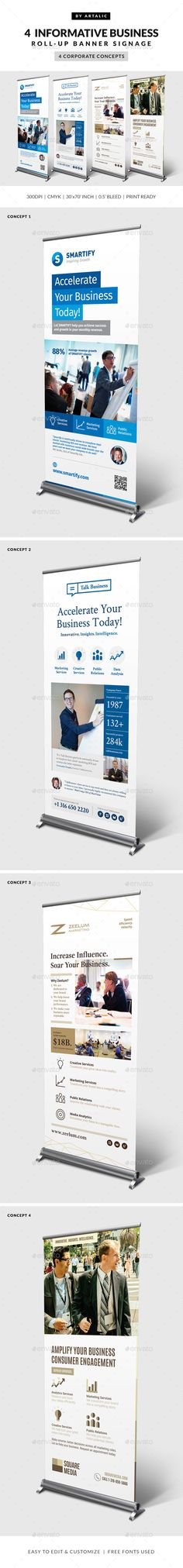 4 Corporate Business Roll-up Banners Template #design Download: http://graphicriver.net/item/4-corporate-business-rollup-banners/10841256?ref=ksioks