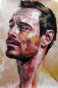 "Thomas Saliot, ""Michael Fassbender"", oil on canvas"
