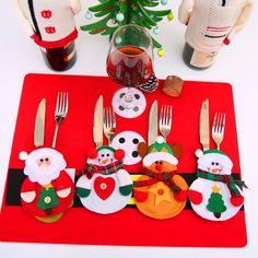Xmas Decor Santa Claus Snowman Elk Kitchen Tableware Holder Fork Knife Pocket Cutlery Bag Christmas Party Table Decoration 1pcs