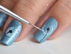 Flower. Nail art. Nail design. Tutorial. Blue nails.