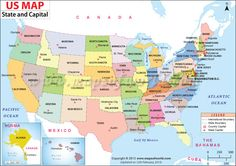 #US #map shows the 50 states boundary their capital cities along with national capital of #USA
