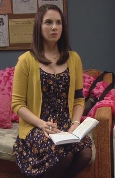 Annie's floral dress with yellow cardigan on Community.  Outfit Details: http://wornontv.net/2976/ #Community