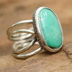 Green/blue cabochon turquoise ring in silver bezel setting with oxidized sterling silver matte twist band