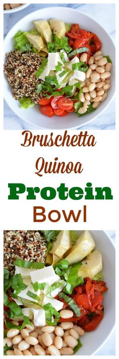 Power bowls are all the rage. This bruschetta quinoa protein bowl is back full of protein and fiber.