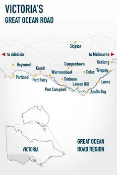 Great Ocean Road Map   T r a v e l   Pinterest  An Shopping
