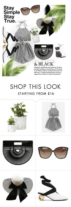 """Stay simple Black 'n' White!!"" by anubhuti-tandon ❤ liked on Polyvore featuring Cult Gaia, Linda Farrow and J.W. Anderson"