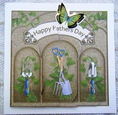 Gardening Fathers Day Shell Edged Corner side stacker on Craftsuprint designed by Carol Clarke - made by Jayne Francis - Printed on a Good Card Stock,cut out all the Elements and used Silicon to make the 3D. I found this lovely Green Butterfly that matched the Colors of the Card so used that. A Lovely Fathers Day Card - Now available for download!