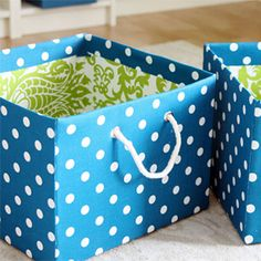 DIY Fabric Covered Boxes http://iheartorganizing.blogspot.ca/2012/03/pretty-pretty-diy-fabric-boxes-link.html