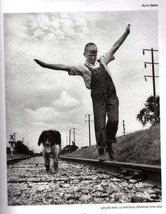 Myron Davis  Larry Jim Holm, 12 years old, with Dunk, Oskaloosa, Iowa, 1945