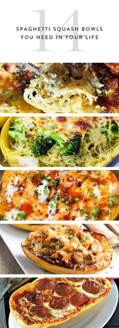 14 Spaghetti Squash Bowls You Need in Your Life - 14 Spaghetti Squash Bowls You Need in Your Life YUM Healthy, satisfying squash bowl recipes. Add these to the menu this month. Healthy Dinner Recipes, Low Carb Recipes, Vegetarian Recipes, Cooking Recipes, Paleo Dinner, Fast Recipes, Vegetarian Spaghetti Squash Recipes, Healthy Dinner Sides, Microwave Recipes