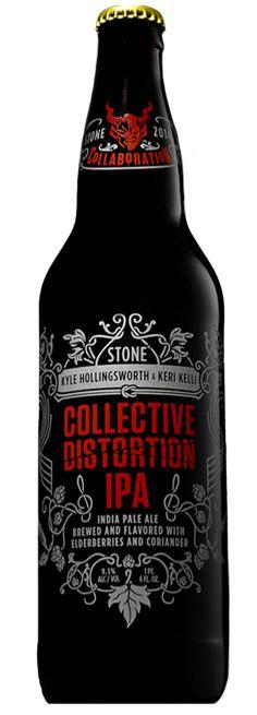 Cerveja Collective Distortion IPA, estilo Imperial / Double IPA, produzida por Stone Brewing Co., Estados Unidos. 9.3% ABV de álcool.