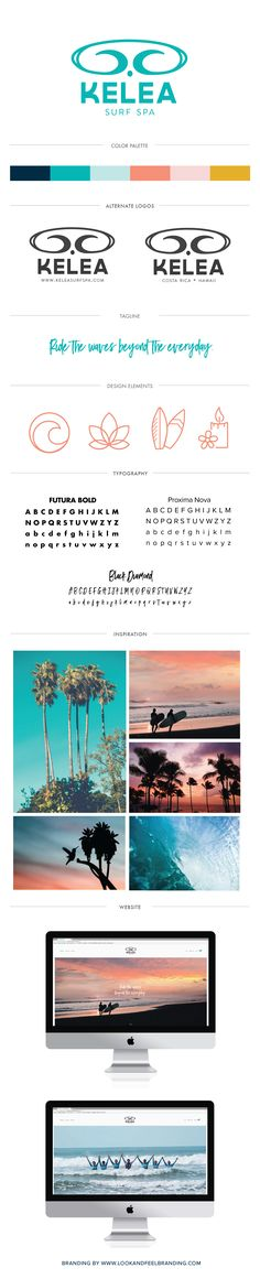 Fun, bright, beach-y branding (logo, tagline, icons, website, moodboard) for a women's surf, yoga, massage, and adventure retreat with a sunset inspired color palette.